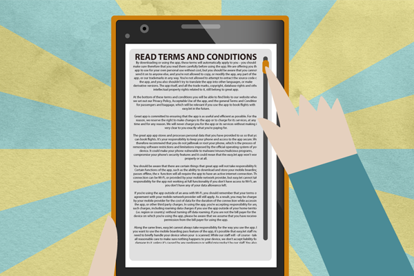 "What is your reaction in front of the ""Do you accept the terms and conditions"" buttons?"