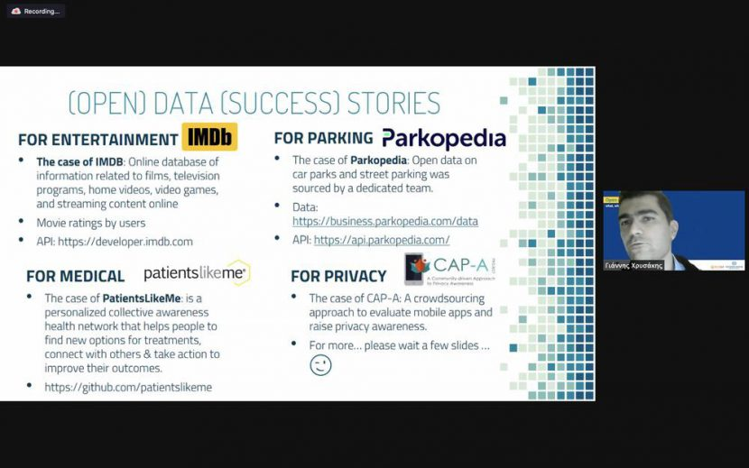 Participation at ODEON Open Data Webinar: what, why, when & how (1-2/12/2020, Online)
